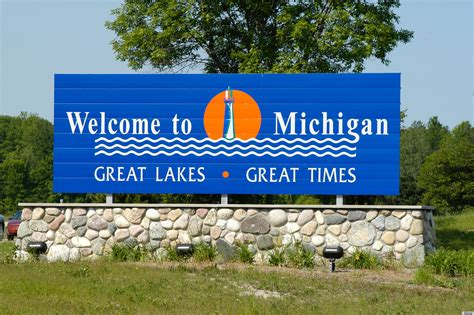 Welcome to Michigan Sign at State Border   Lynne Meredith