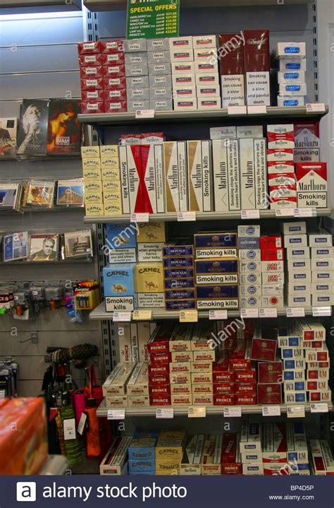 Tobacco cigarettes in Duty Free shop shopping Stock Photo