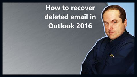 How to recover deleted email in Outlook 2016 - YouTube