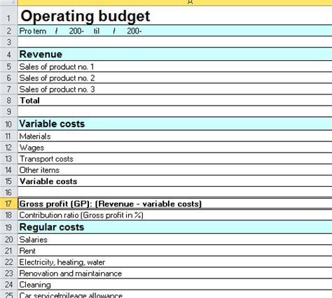 Yearly Operating Budget Template Excel