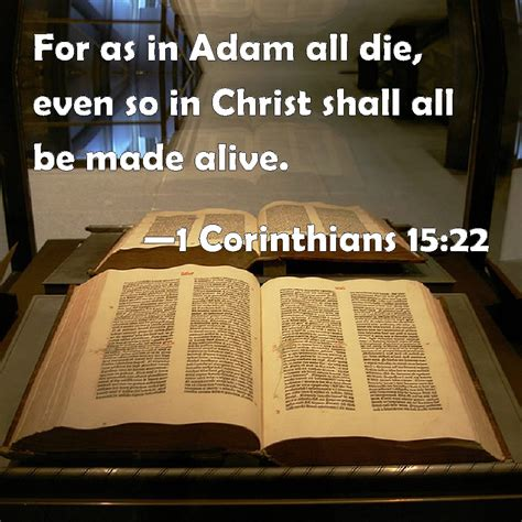 1 Corinthians 15:22 For as in Adam all die, even so in